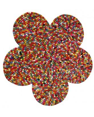 Flower Felt Ball Rug