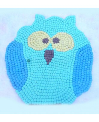 Handmade Owl Felt Ball Rug