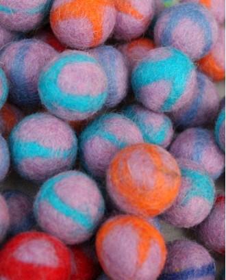 Tie Dye Handmade Felt 2 Cm balls